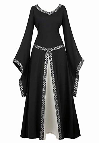 aizen Mittelalter Kleid Renaissance mit Trompetenärmel Party Kostüm bodenlang Vintage Retro Costume Cosplay Damen Schwarz L