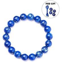 """SUNNYCLUE Natural auténtica Lapis-lazuli piedras preciosas pulsera elástica cuentas redondas de 10 mm de alrededor de 7 """"unisex"""