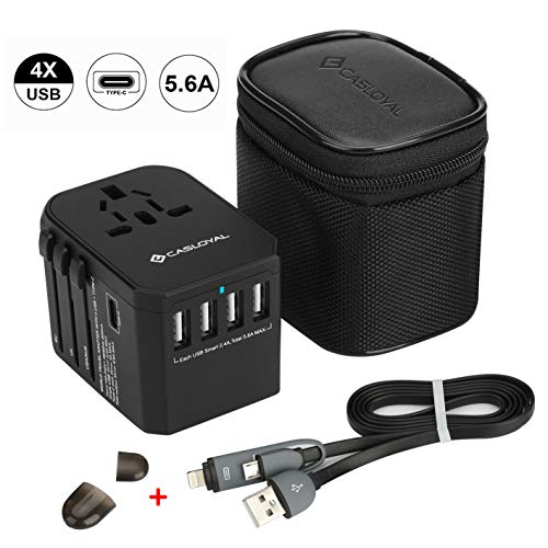 Casloyal Universal Reiseadapter Reisestecker mit 4 USB Ports(5.6A) und Type C(3.0A) International Ladegerät Sicherheit AC Steckdose für Weltweit Reisen in US,UK,EU,AU,Asien Über 170 Ländern