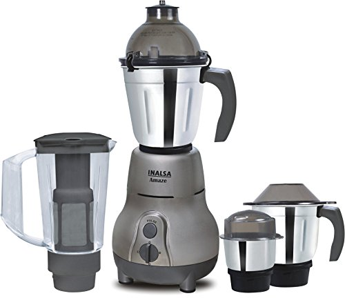 Inalsa Amaze 750-Watt Mixer Grinder with 4 Jars (Grey)