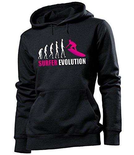 love-all-my-shirts Surfer Evolution 559 Wassersport Frauen Damen Hoodie Pulli Kapuzen Pullover Kapuzenpullover Sportbekleidung Sport Fanartikel Schwarz Aufdruck Pink L