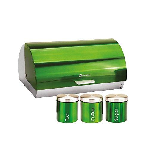 Brotkäse & 3 Kaffee-, Tee- & Zuckerdose Set - Edelstahl, Smaragdgrün (Kanister-sets-lila Küche)