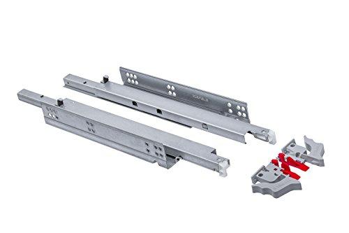 Gedotec Schubladenschienen Vollauszug 350 mm Schubladen-Auszug mit Dämpfung | Teleskopschienen MOOVIT | Tragkraft 30 kg | Schienen für Holz-Schubkästen | 1 Paar - Auszüge aus Stahl mit Kupplungen
