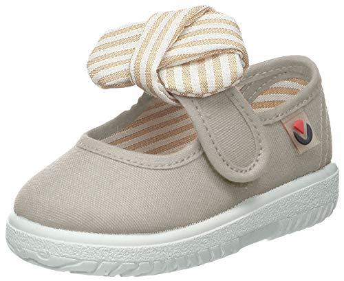 Victoria Mercedes Lona Pañuelo, Zapatos de primeros pasos para Bebé-Niñas, Beige, 21 EU