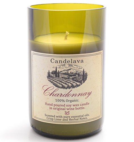 Duftkerze im Glas Bio Kerze echtes ätherisches Öl Lemongrass in Weinflasche Geschenkidee Weinliebhaber Deko Windlicht Sojakerze Chardonnay Geschenkbox 60 Std vegan (Massage Mit Der Kerze Wachs)