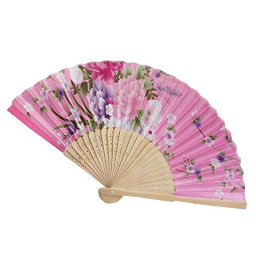 Challeng Faltbar Handventilator-Weinlese-Bambus hielt Blumen-Fan-chinesische Tanzparty-Taschen-Geschenke an Dekoration Heißer (D)