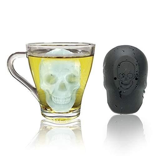 SFZAV Totenkopf Silikonform Eiswürfelform Flexibles Silikon in Lebensmittelqualität Gelee/Bonbon/Schokoladenform Wein, Wasser, Babynahrung DIY Cool Drink - Schwarz (Gratis Geschenktrichter