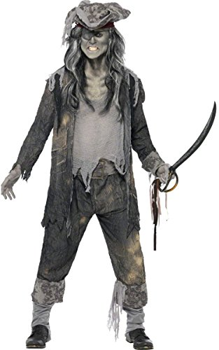 KULTFAKTOR GmbH Zombie Geister Pirat Halloween Kostüm grau L