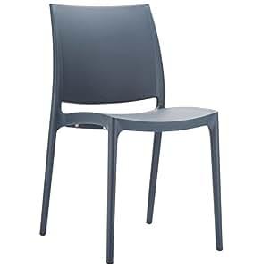 Alterego - Chaise design 'ENZO' Grise foncée