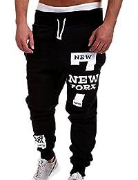 LIANIHK Hombre Casual Harem Holgado Hip Hop Gimnasio Jogging Deportivos Pantalones-Diseño New York