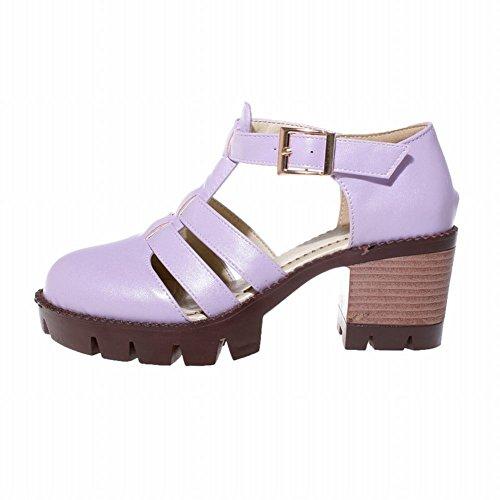 Mee Shoes Damen modern bequem populär dicker Absatz Schnalle  Knöchelriemchen Geschlossen runde atmungsaktiv Plateau Pumps Lila ...