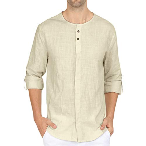 Herren Shirt Männer T-shirt Leinenhemd Langarm Pure Rundhals Tops Regular Fit Oberteile Sommerhemd Leichte Atmungsaktives Bequem PPangUDing Business Hoodie Muskelshirt (S, Khaki) - Herren Arbeitshemd Aus Denim