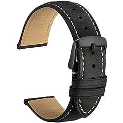 WOCCI 18mm Correa Reloj de Piel con Hebilla Negra, Estilo de Vintage, Replacement Banda (Negro)