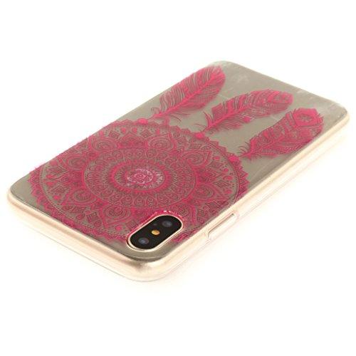Cover iPhone X , YIGA Moda Fiore di pesca Trasparente Morbido TPU Silicone Flessibile Gel Guscio Cover Protettiva Bumper Case Protezione Copertura Custodia per Apple iPhone X (5,8) TX47