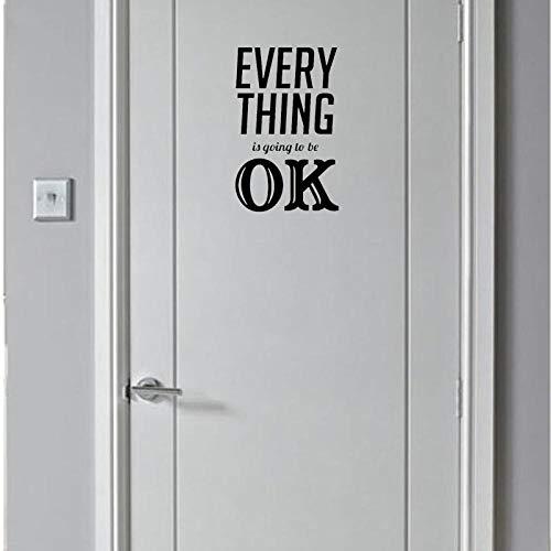 Wandaufkleber Kreative Jede Sache Wird Ok Tür Wandaufkleber Schwarz Aufkleber Zubehör 15 * 24 Cm