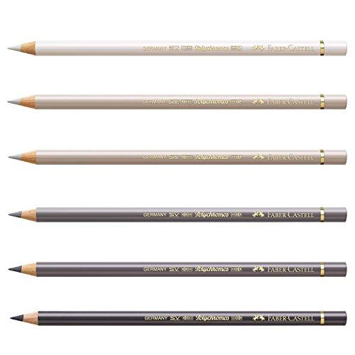 Faber-Castell 210006 crayón Polychromos, 6 pines en un fardo, gris cálido
