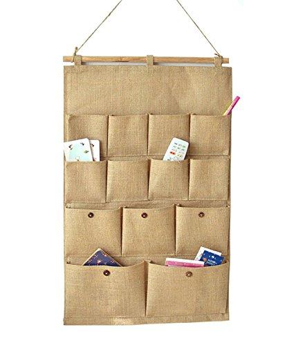 Kimjun Baumwoll Wand hängenden Beutel Tür zurück Aufbewahrungstasche Hängenden Tasche Organizer Multifunktionale Wohnzimmer Schlafzimmer Utensilo 13 Tasche 45*74CM Einfarbig