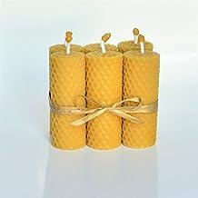 Velas de 100% Cera De Las Abejas Tamano 8 x 3 cm Juego de 6 Velas 100% Naturales Aroma De Miel/Cera 100% Hecho A Mano
