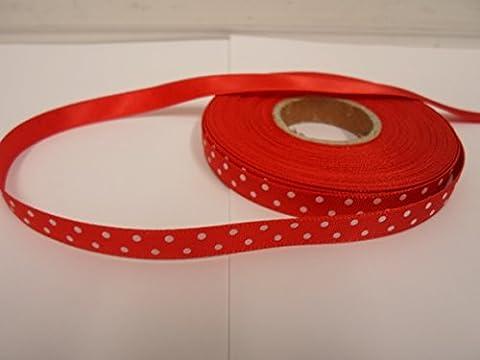 1 rouleau de 10 mm x 25 mètres ruban de satin, rouge avec du blanc à pois / voit 10 mm