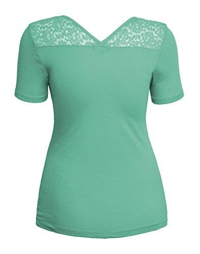 Shirt Blouse Top Grande Taille col V à manches courtes en dentelle florale maille accent de femmes menthe fraîche