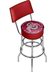 NCAA Ohio State University Padded Swivel Bar Stool with Back by Trademark Gameroom