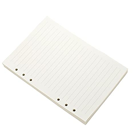 Recharges papier vierge doublé 6trous 100feuilles A5(14.5x21cm) & Lined White paper