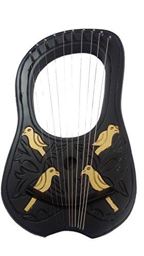 Lyre-Harpe-10-cordes-en-mtal-en-noir-Couleur-Dor-OiseauxLyra-Jante-Harpe-en-bois-Shesham