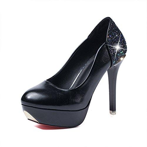 Damen Pupms Rundzehen Plattform Strass Pailletten Slip High Heels Stilettos Abend Elegant Schuhe Schwarz