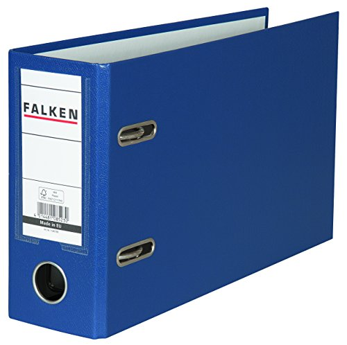 Falken PP-Color Kunststoff-Ordner Sonderformat 8 cm breit DIN A5 quer mit Wechselfenster blau Kontoauszug Ringordner Aktenordner Briefordner Büroordner Plastikordner Schlitzordner