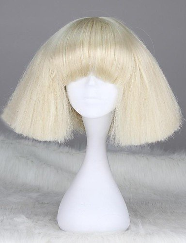 ahom-Perücke Noble Lady Gaga Style Glassockel Fashion kurz glatt blonde Kunsthaar ()