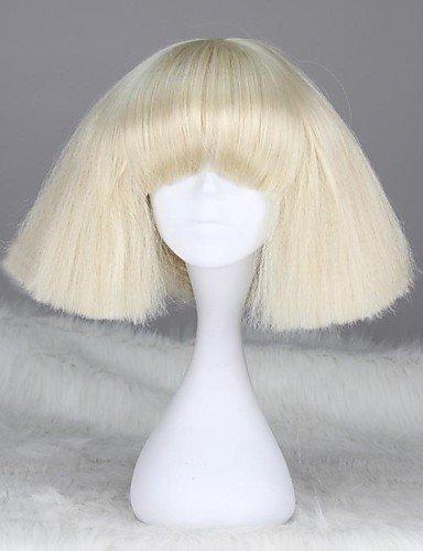 Einfache und bequeme Art und Weise Perücken europäisches Haar Lady Gaga Stil Capless Mode kurze gerade synthetische Perücke Blond