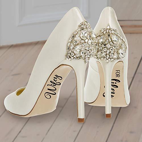 - Wifey for Lifey - jeweils 6,3 x 10,2 cm - Einzigartige moderne Cursive Braut Frau Dekoration für Hochzeit, Schuhe, Empfang, Tanzabsatz, Big Day Fotografie Zubehör ()