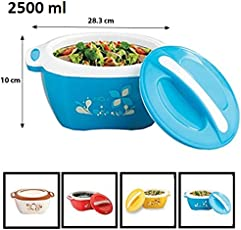 Relish Insulated Plastic Casserole Set, Steel in The lid, (2500 ml - Blue)
