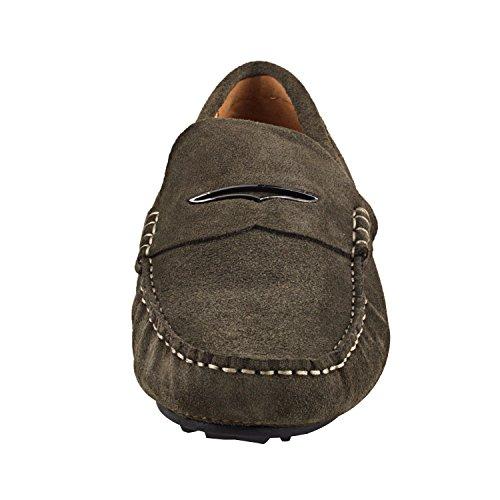Shenduo - Mocassins pour homme cuir - Loafers confort - Chaussures de ville D1181 Vert