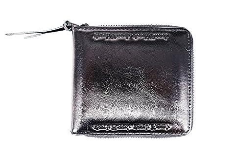 Rough Assez de fermeture Éclair Portefeuille pour homme en cuir de blocage RFID avec carte de crédit Portefeuilles, noir