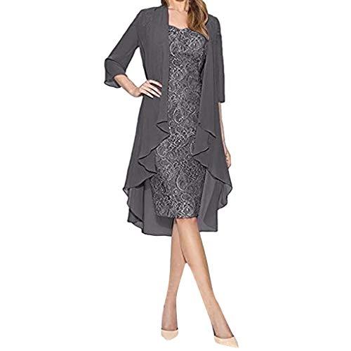 feiXIANG Damen Kleid Strickjacke Knielang Langarm Bleistiftkleid Spitzenkleider Zweiteiliges Set(Grau,5XL)