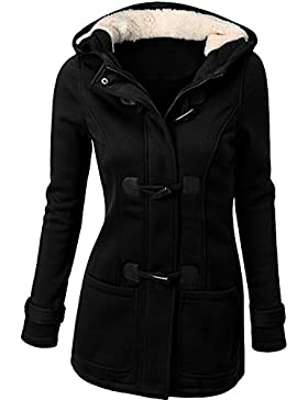 U-shot - Abrigo con capucha de invierno para mujer, con botones de cuerno