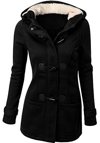 U-shot - Abrigo con capucha de invierno para mujer, con botones de...