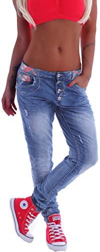 Unisex Boyfriend Damen Jeans Chino Baggy Harems Hose Hüftjeans Girlfriend XS 34 S 36 M 38 L 40 XL 42 Blau gr größe size gerader schnitt gerade jeanshose boyfriendjeans hüfthose-n denim risse gerissen Baggy Boyfriend Jeans