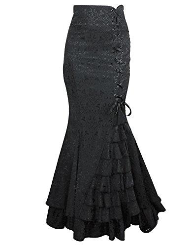 Burvogue Damen Steampunk Gothic Kostüm Langer Rock (M, (Gothic Frauen Kostüme)