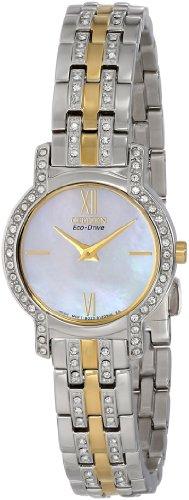 CITIZEN WATCH EX1244-51D – Reloj analógico de cuarzo para mujer, correa de acero inoxidable chapado multicolor