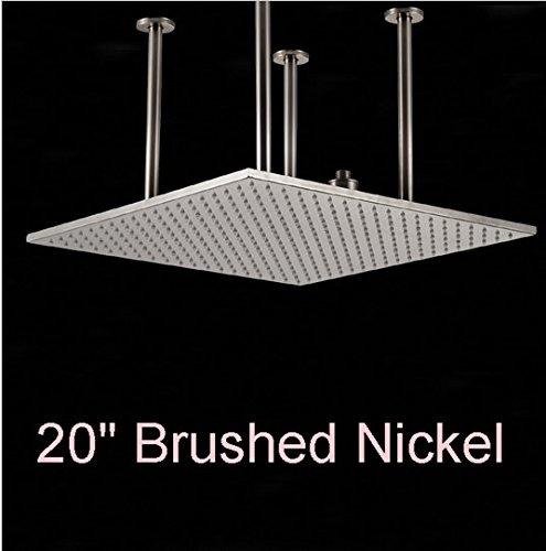 Gowe Nickel gebürstet quadratisch Regen Duschkopf 50,8cm Top über Dusche Spritze Decke montiert Dusche Wasser Schläuche (Regen Duschkopf Nickel Gebürstet)