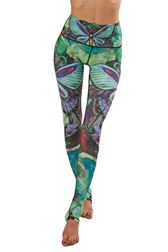 Damen Digitaldruck Elastische Sport Yoga Stretch Leggings Caprihose Pants Green M