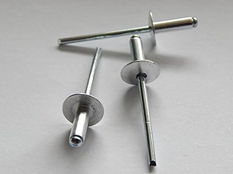 100 Stück Blindnieten Popnieten Alu/Stahl 4,0x10 mm Nieten Großkopf K12