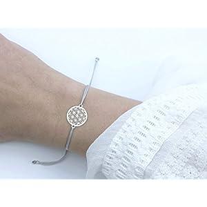 SCHOSCHON Damen Blume des Lebens Armband Silber-Grau 925 Silber | Lebensblume Schmuck personalisierte Ostern Geschenke