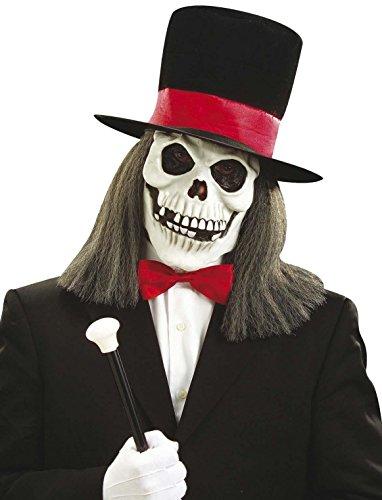 Hippie Totenkopf Maske mit Zylinder