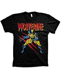 Officiellement Marchandises Sous Licence Marvel Comics Wolverine Scratches 3XL,4XL,5XL Hommes T-Shirt (Noir)