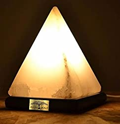 SALT LAMP PYRAMID SHAPE RARE WHITE 7-INCH HEIGHT 2-3 KG WITH ON/OFF WIRE & SPARE LED BULB, NATURAL AIR PURIFIER, FOR VASTU, HEALING, PEACE & HARMONY BY ALL NATURALS