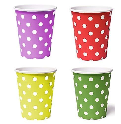 50 x Gobelet (Rouge, Jaune, Vert, Violet) Gobelets Jetables pour des boissons des collations en carton