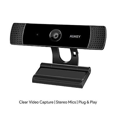 AUKEY Webcam 1080P Full HD avec Microphone Stéréo, Caméra Web pour Chat Vidéo et Enregistrement, Compatible avec Windows, Mac et Android par AUKEY - Tablette, Housses , Chargeurs , Kindle & Fire, Etuis , Protections d'écran , PC Portable, Téléphone Mobile